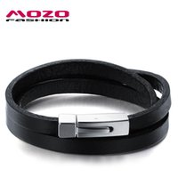 Wholesale Leather Double Layers Bracelet - MOZO FASHION Hot Brand Men's Bracelet Black Double Layer Leather Bracelet Stainless Steel Bracelets Male Vintage Jewelry MPH908