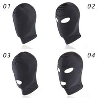 Wholesale Open Mouth Mask Sex - Bondage Hood Covers for Sex Soft Elastic Full Masks for Adults Play Games Fetish Open Mouth Bondage Tools