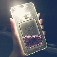 Luxo Perfume Glitter liquid Case para iPhone 8 7 Plus Clear Flash LED Light UP Tampa de cristal TPU para iPhone 6s PLus 6