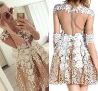 Wholesale Silver Design Sequin Cocktail Dress - 2017 New Bling Glitz Gold Sequins Appliques Short Homecoming Dresses New Designed Sheer Backless Half Sleeves Illusion Cocktail Prom Gowns