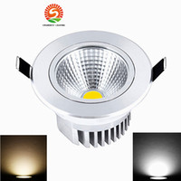 Dimmable 9W 12W 15W 18W 21W Led Downlights 120 Angle High Bright COB Warm / Cool White Led Encastré Down Lights + Power Drivers