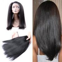 Wholesale Soft Brazilian Virgin Hair - 9A Brazilian Soft Virgin Human Hair Weave 3 Bundles Light Yaki With Pre Plucked 360 Full Lace Band Frontal Closure #1B Adjustable Straps