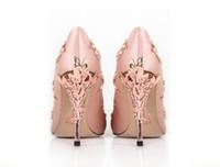 gelin partisi için saten ayakkabıları toptan satış-ÜCRETSIZ NAKLIYE pembe saten gelin düğün ayakkabı eden pompalar yüksek topuklu ayakkabılar için ayakkabı ile akşam / balo / parti 253