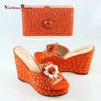 Wholesale Matching Shoes Bags Orange - 2017 Limited Dames Schoenen Orange&black Sandals And Slippers Handbag Wedges Italian Shoes With Matching Bags Women Set