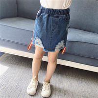 Wholesale Kid Pencil Skirts Dresses - Fashion Korean Girls denim Skirts Childrens mini Skirt washd hole a-line skirt baby Pencil Skirts Toddler Casual Dress Kids Clothing A448