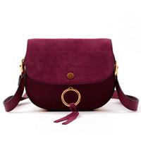 Wholesale Flip Messenger Bags - Wholesale- 2016 new matte metal trim ring flip saddle bag leather handbag Shoulder Messenger handbag women bag