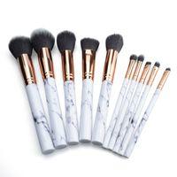 Wholesale Hair Brusher - Marble Makeup Brush 10pcs set Marbling Pro Eye shadow brushes Marble Brush Multi function BB Cream Brusher Eyeline Cosmetic tool DHL ship