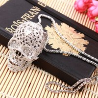 Wholesale Skull Sweater Necklace - Europe and the United States necklace fashion jewelry skull head necklace wild retro long necklace sweater pendant