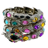 Wholesale bronze toggle - Multi color Stretch snake bracelet armlet upper arm cuff for women punk rock crystal bangle antique Bronze plated NE735