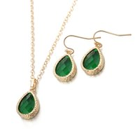 Wholesale Earring C - Fashion High Quality Geometric Green Glass Atique Gold Plated Copper Necklace and Earring Set For Women MCS001-C