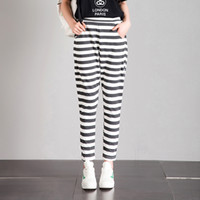 Wholesale Loose Cotton Pants For Women - Classic Style Loose Pyjama Casual Pants for Women Cotton Blend Elastic Waist with Gray Stripes and pockets for Autumn Winter
