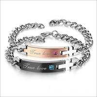 verdaderas pulseras de amor al por mayor-Brazalete de la pulsera de los amantes verdaderos del amor del acero inoxidable 316L con azul / rosa Crystal un regalo de las PC
