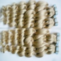 Wholesale Seamless Tape Hair - Brazilian tape in hair extensions human hair 200g 80pcs Brazilian loose Wave 613 Blonde hair extensions tape seamless