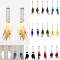 Wholesale Long Red Feather Earrings - Feather Earrings 12 Colors wholesale lots Sheer Tear Bead Long Chain Chandelier Eardrop (White Black Deep Pink Yellow Army Green Red)(JF176)