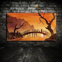 "Wholesale Wall Art Wood Panels - "" Samurai Silhouette Sunlight Trees Water Wood"" Premium Art Print. HD Canvas Prints Wall Art for Home Decor(Unframed)"