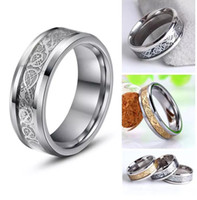 Wholesale Black Inlay Ring - High Quality Mens 8MM Tungsten Carbide Gold Silver Celtic Dragon Inlay Men's Ring Wedding Band Size 8-14