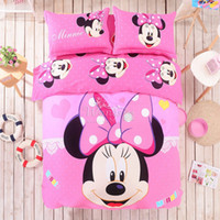 Wholesale Cotton Sheets For Kids Cartoons - Wholesale-100% cotton Lovely Cartoon Mickey Minnie Mouse Bedding Set for Adult Kids 4pcs Bed Linen Include Quilt Cover Sheet Pillowcases