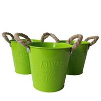 Wholesale round metal tub - Green color D13*H12CM Iron Round Flower Tub tin box bonsai pot metal buckets wholesale Cheap garden pots