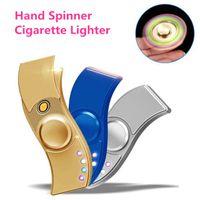 Wholesale Top Usb Cigarette Lighter - New Fidget Spinner Cigarette Lighter Finger Spinner Hand Spinners Lighter Metal Zippo Spinning Top USB Charger 5 colors free shipping