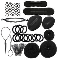 Wholesale Professional Hair Clips - MLJY Hairdressing DIY Hair Accessories Sponge Disk Hair Increased Pad Hair Pin Clip Rubber Band Professional Tools Braid Style 1 Set