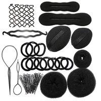 Wholesale Diy Hair Band Plastic - MLJY Hairdressing DIY Hair Accessories Sponge Disk Hair Increased Pad Hair Pin Clip Rubber Band Professional Tools Braid Style 1 Set