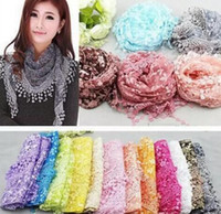 Wholesale Lace Scarf Wholesale - Fashion Infinity Scarves Chiffon Lace Multi 20 Colors Floral Print Wraps Free Shipping Hot Sale