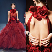 Wholesale Decorate Image - Fashion Burgundy Evening Dresses 2017 High Neck 3D-Flower Decorated Tiered Ruffles Ball Gown Prom Dresses Formal Party Gowns Floor Length