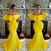 vestidos de fiesta estilo sirena amarilla al por mayor-Amarillo Off The Shoulder Prom Dresses Estilo africano Vestidos Tallas grandes Evening Wear Sweep Train Manga Corta Vestido de Fiesta de Sirena Vestidos