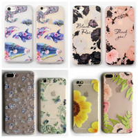 Wholesale Iphone Frosted Cartoon Case - Lace Flower Frosted Matte Soft TPU Case For IPhone 7 Plus 6 6S Silicone White Sunflower Lovely Swan Butterfly Cover Ultrathin Cartoon Skin