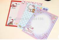 Wholesale invitation letter party - Wholesale- 6 Letters Pad+3 Letter Envelopes Per Set Cartoon Hello Kitty Christmas Party Holdiy Letter Paper Envelopes Set Invitation Card