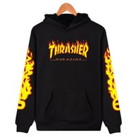Wholesale Mens Xs Hoodies - Autumn Winter Fleece Skateboard Fire letter print Sweatshirt Men Hoodies Women Streetwear Tracksuit Hooded Mens Hoodies