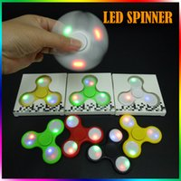 Wholesale Switch Plastic Off - LED Spinner Fidget Spinner Tri-spinner Flash HandSpinner With Switch On Off Button Gyro Torqbar Fidget Spinner With Retail Box