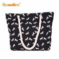 Wholesale Horse Canvases - Wholesale- Best Deal Fashion New Women Lady Handbag Casual Rope Horses Pattern Canvas Tote Messenger Shoulder Bag Gift 1PC