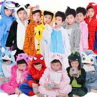 Wholesale Flannel Pajamas - 21 Designs Kids Flannel Unicorn Warm Pajamas Kids Pikachu Unicorn One-piece Home Cosplay Nightwear Dinosaur Stitch Pajamas CCA7510 100pcs