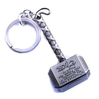 Wholesale Mjolnir Thor - 1Pcs Marvel Avengers Thor's Hammer Mjolnir Keychain New Pewter Keyring Toy Thor Chain Ring Key Men Jewelry Fans Accessory