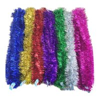Wholesale Metal Garland - lenght 2 m Christmas xmas rribbon wool tops garland christmas tree decoration ribbon encryption multicolors wedding party hanging ornaments