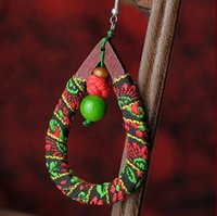 Wholesale Wooden Ethnic Earrings - Handmade Earrings Vintage Knitting Wooden Fabirc Earrings Jewelry Chinese Ethnic Valentine Gifts Free Shipping Hot Sale