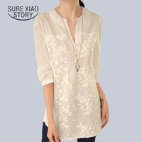 Wholesale Organza Tops - New V-neck Organza Embroidered Shirt White Lace Blouse Top Plus Size Summer Korean Women Blouse Flower Print Blouse 566F 25