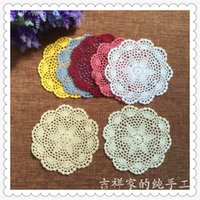 Wholesale free crochet doilies - Wholesale-Free shipping 12pic lot 20cm round cotton crochet lace doilies fabric felt as innovative item for dinning table pad coasters mat