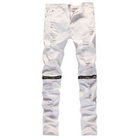 Wholesale Knee Pants For Men - Wholesale-2016 New Male Jeans White Ripped Knee Hole Club Jeans Men Brand Slim Fit Cut Destroyed Torn Jean Pants For Male Homme