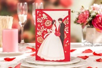 Wholesale Envelope Wedding Card - Red Laser Cutting Wedding Invitations Card with Envelope Seal Sticker Hollow Flower & Figure Wedding & Events Favor Supplies Customized