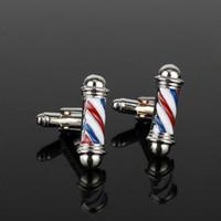 Wholesale Iron Ties - dongsheng Tie Clips&Cufflink Series Barber Shop Barber Pole Cufflinks Men Shirt Cuff Buttons Jewelry CuffLinks New Accessories
