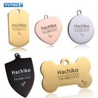 cloches pour animaux de compagnie achat en gros de-YVYOO Chien tag de chat Collier de chien En acier inoxydable Gravure gratuite Pet Dog Accessoires pour collier de chat Nom d'étiquette d'identification téléphone BB