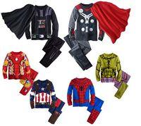 Wholesale Winter Sleep Wear - TZ375,2016 spring kids pajamas clothes for boys Hulk superhero Batman costume Spiderman children sleeping wear clothing sets