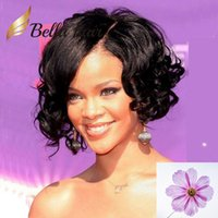 Wholesale natural curl wigs for sale - Group buy Rihanna Medium Loose Water Wave Curly Human Hair Lace Front Wig with Curled Hairline Bella Hair