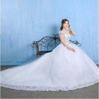 Wholesale Korean Ladies Images - Ladies wedding dress 2017 new summer Korean large size was thin diamond bride wedding luxury long tail