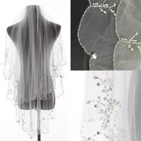 Wholesale Beaded Veil Fingertip - 2017 Two Layer Wedding Veils Fingertip Long Bridal Veil High Quality Sequin Beaded Bridal Veils Free Shipping Wedding Supplies