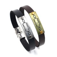 Wholesale Wholesale Ring Wristlet - Football Fans Gift CRISTIANO ID Bracelets for Men Stainless Steel Buckle Size Adjustable Cowhide Wristlet Fashion Jewelry