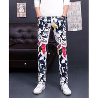 Wholesale floral print pants men - Men Jeans Full Pants Male Casual Printed Long Trousers Male Floral Europeans Style Jeans Hombre