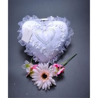 Wholesale Heart Pillow White For Wedding - 3D Rose Heart Shaped Ring Pillow Wedding Supplies Rhinestone Crystals Satin Ring Pillow for Wedding Ceremony Party Stuff Accessories